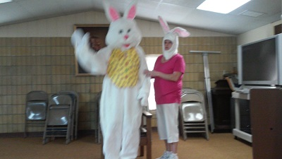 A visit from the easter Bunny.