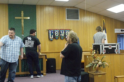 Christian based music group setting up at Newberry UMC
